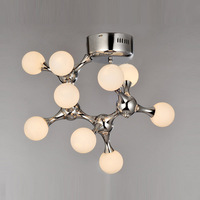 Modern Simple Glass DNA Art Ceiling Lamp Nordic Bedroom Ceiling Lights Machine Dog Living Room Ceiling Lighting Fixtures