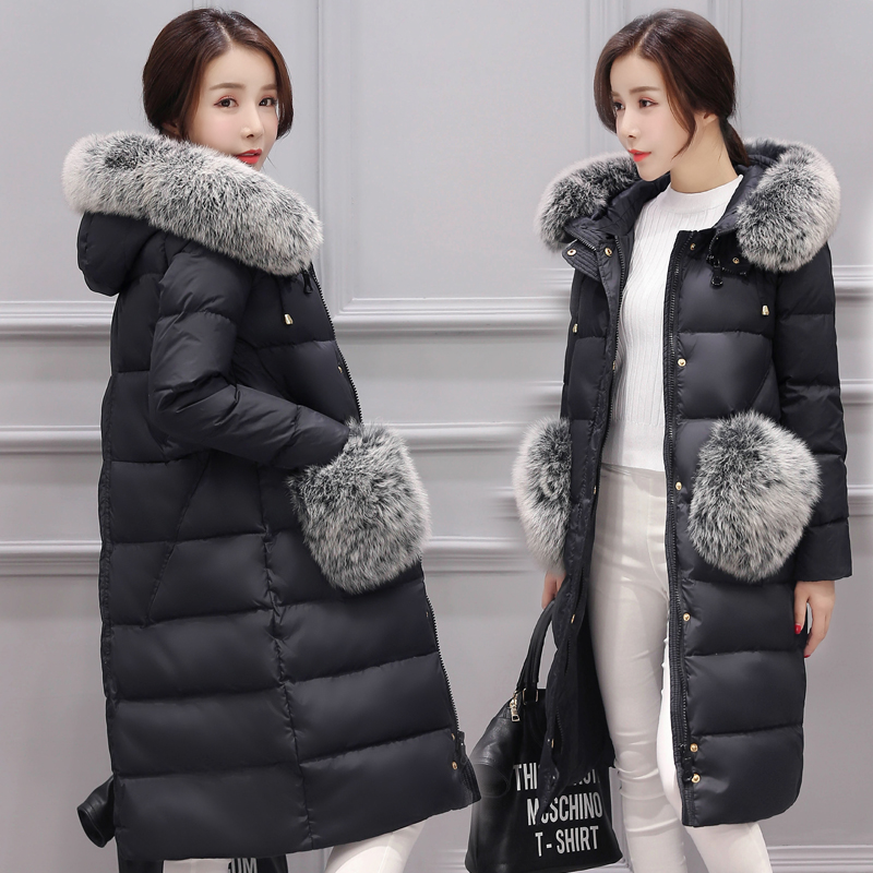 Winter Jacket Women 2017 New Fashion Casual Hooded Long Outwear Down Cotton Parkas Ladies Fur Pocket Thick Warm Nagymaros Coat women winter fashion warm down jacket hooded cotton long fur collar slim women thick parkas coats zipper ladies outwear parkas