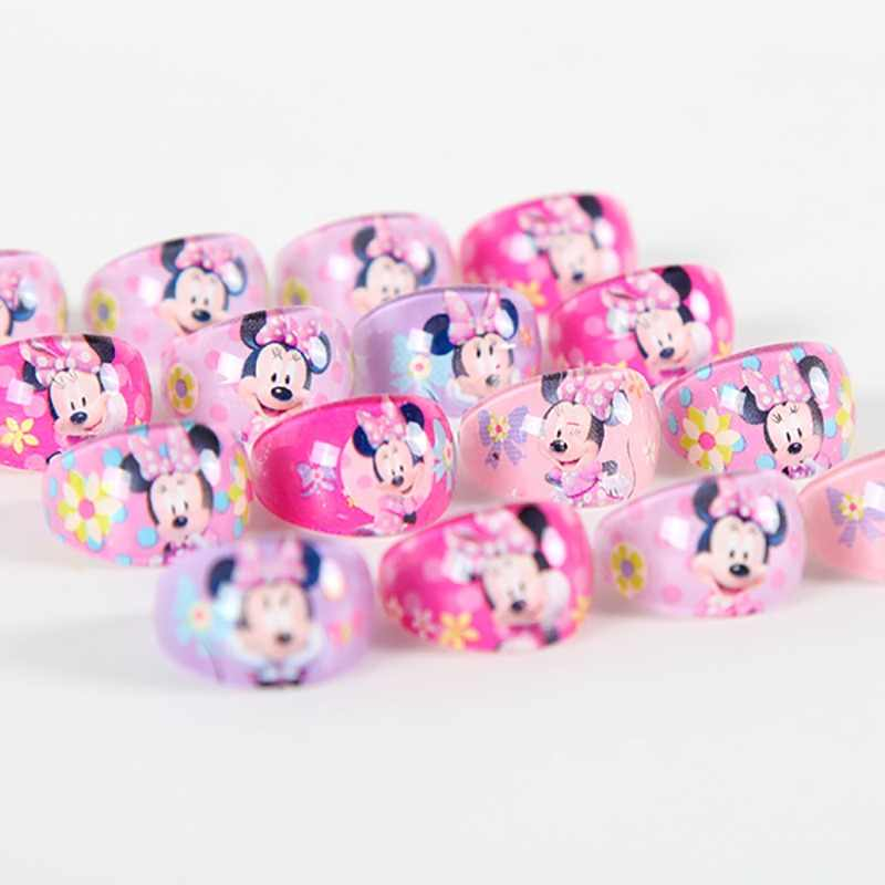 24pcs/lot Minnie Mouse Party Gifts for Guests Rings Kids Finger Rings Baby Birthday Party Decoration Favors Supplies