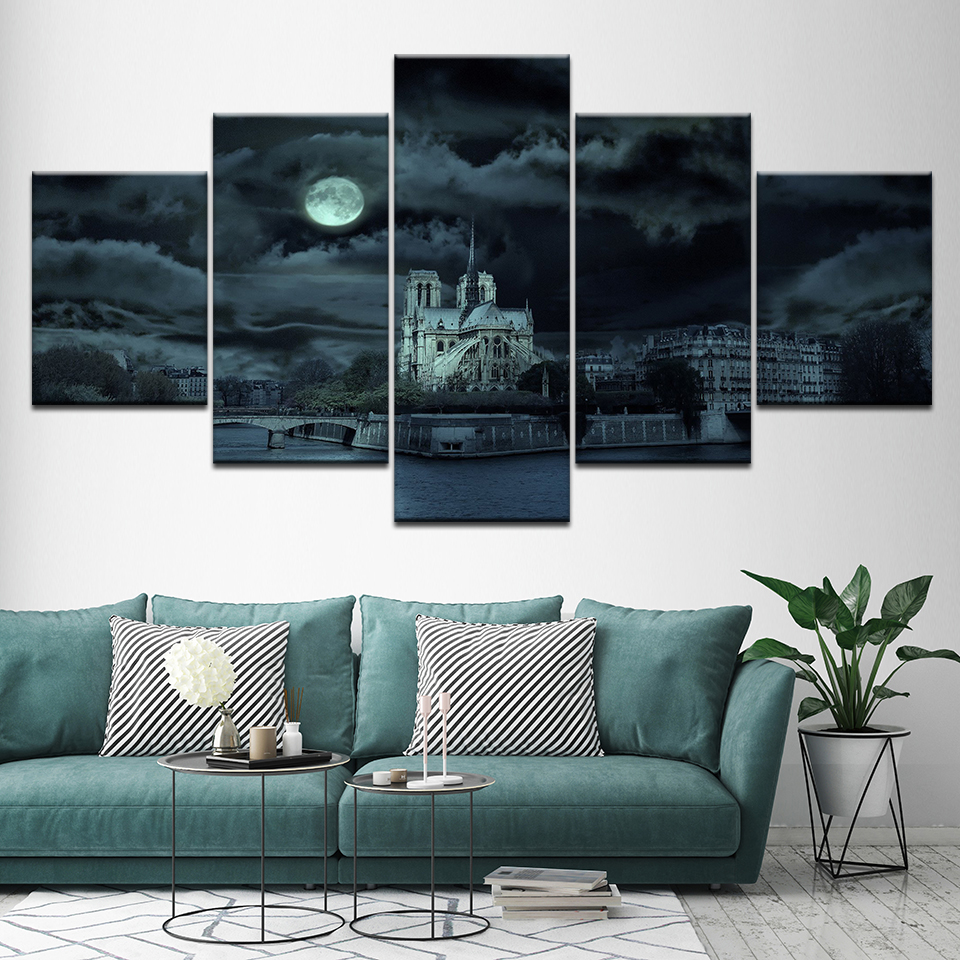 Canvas Painting Notre Dame Cathedral 5 Pieces Wall Art Painting Modular Wallpapers Poster Print for living room Home Decor in Painting Calligraphy from Home Garden