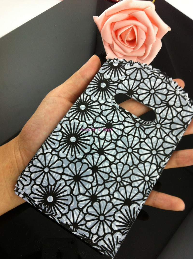 Plastic Gift Shopping Bags 100pcs/lot 9*15cm Classical Black Flowers Pattern Plastic Jewelry Shopping Pouches Free Shipping