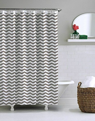 Memory Home Fabric Shower Curtains 60x72inch Grey Striped