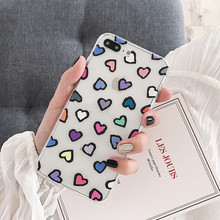 Cute Colorful Heart Transparent Case For iPhone X Xs Max XR Soft Case For iphone 6 6s 7 8 plus Ultra-thin TPU Back Cover 0 3mm ultra thin tpu back case for iphone 6 4 7 transparent white yellow