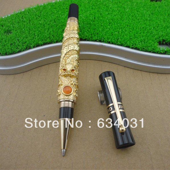 3D Dragons Playing Pearl Golden  Roller Ball Pen Dragon Means Powerful jinhao ancient dragon playing pearl roller ball pen with jewelry on top with original box free shipping