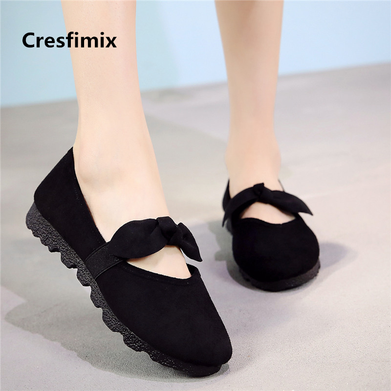 Cresfimix women fashion bow tie black flat shoes lady cute comfortable slip on shoes female plus size retro comfy shoes a2019 cresfimix femmes appartements women fashion comfortable mesh breathable flat shoes lady cute beige bow tie shoes zapatos b2859