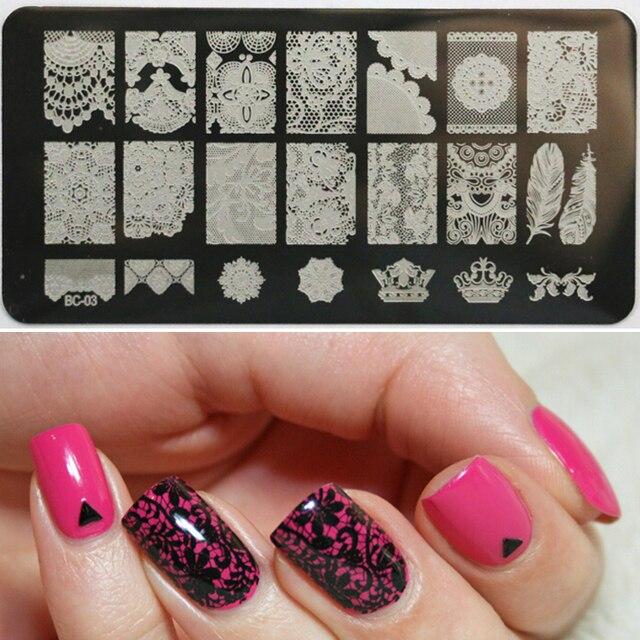 Projeto do laço Prego Carimbar Placas de Imagem Da Arte do Prego Placas Konad Nail Art Stampping-Template Manicure Ferramenta Prego BC