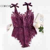 COLROVIE Sexy Bodysuit 2017 Purple V Neck Strap Sleeveless Backless Lace Bodysuit Ribbon Tie Shoulder Floral