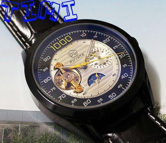 где купить  NEW Automatic Mechanical Tourbillion Moonphase Mens Watch  по лучшей цене