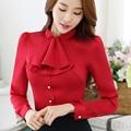 Collar con volantes Casual Mujeres Blusa Mujer Elegante Rosa Slim Fit camisa de Las Señoras Tops Señora de La Oficina OL Nuevo Estilo de Moda de Otoño desgaste