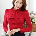 Ruffled Collar Casual Women Blouse Female Elegant Pink Slim Fit Shirt Ladies Tops Office Lady OL New Style Fashion Autumn wear
