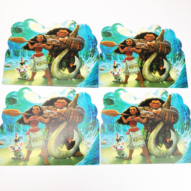 10pcs Lot Moana Theme Invitation Card Cartoon Baby Show Kids Party Birthday Event Decorations Supplies