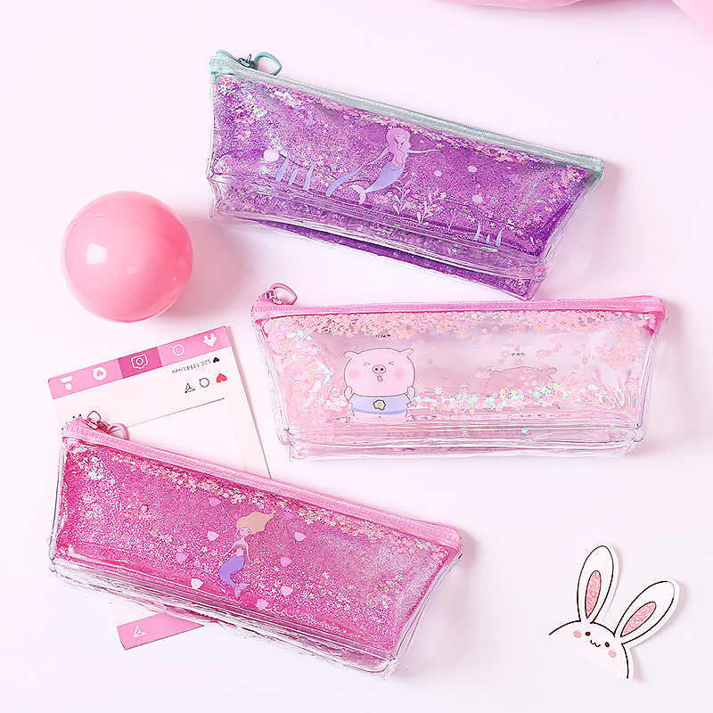 1Pc Kawaii Pencil Case Mermaid Pig Quicksand oil PVC Estuches School Pencil Box Pencilcase Pencil Bag School Supplies Stationery