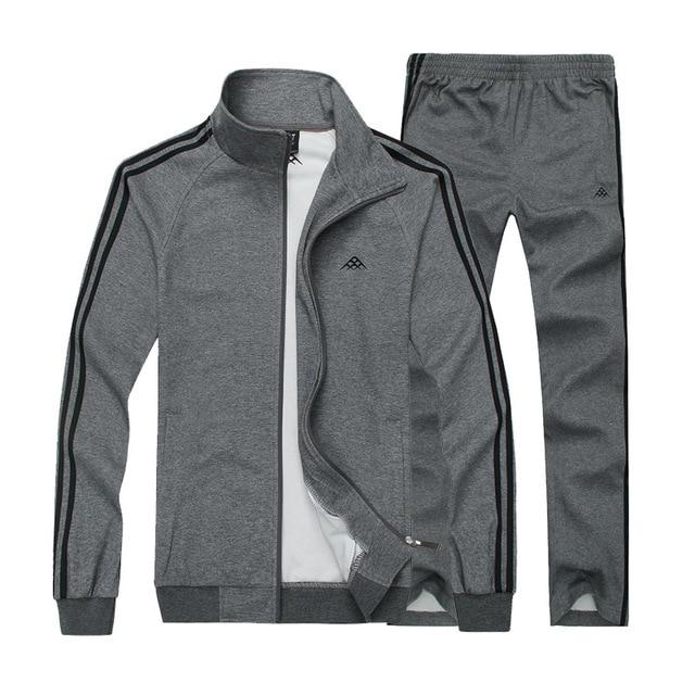 2018 New Thin Men's Sportswear Man Fashion Sports Suit Men's Foreign Trade Suit Two-piece Set Jacket+pants Big Size L-8XL
