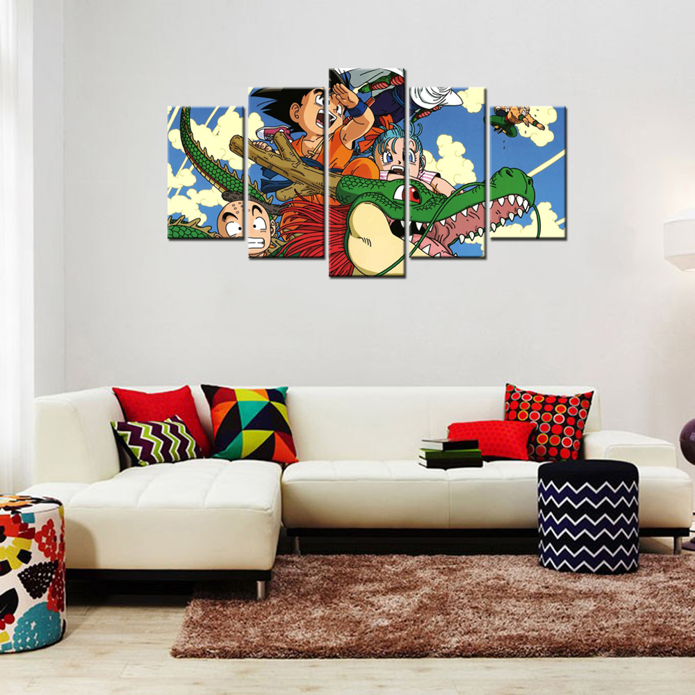 5 set wall pictures dragon ball z goku dragon printed canvas wall 5 set wall pictures dragon ball z goku dragon printed canvas wall art cartoon comic character hd picture painting decor for kid in painting calligraphy amipublicfo Images