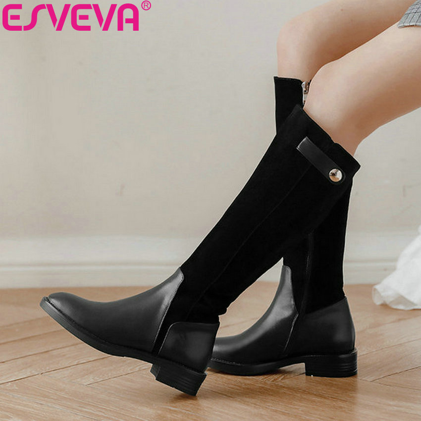 ESVEVA 2019 Shoes Women Patchwork Square Low Heels Sewing Knee-high Boots Sewing Round Toe Autumn Shoes Thigh High Boots 34-39ESVEVA 2019 Shoes Women Patchwork Square Low Heels Sewing Knee-high Boots Sewing Round Toe Autumn Shoes Thigh High Boots 34-39