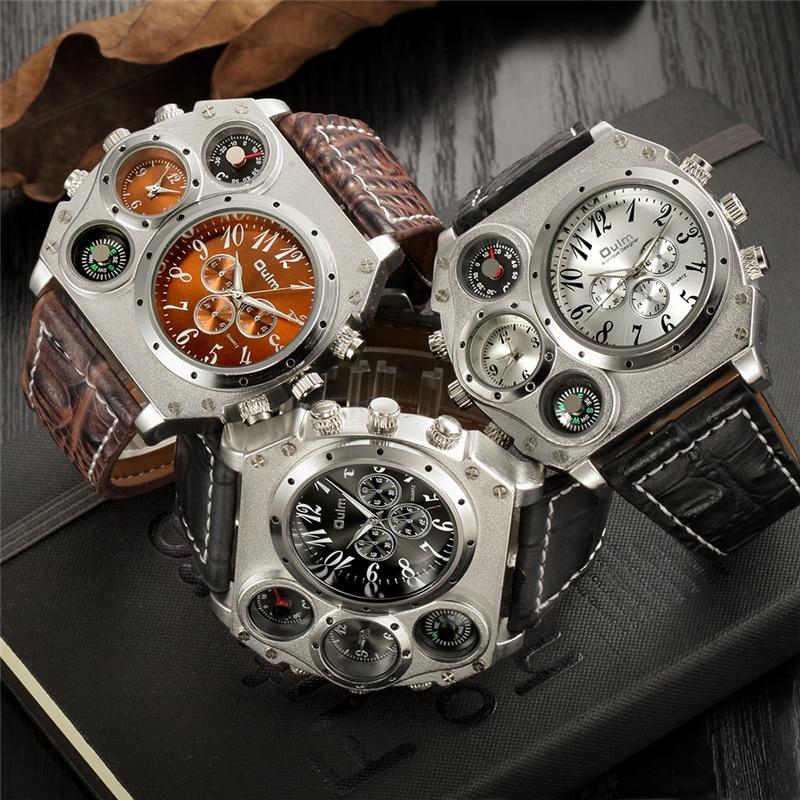 Image 3 - Oulm Мужские спортивные часы, уникальные дизайнерские кварцевые часы с несколькими временными зонами, повседневные наручные часы с большим лицом, мужские военные часыСпортивные часы   -