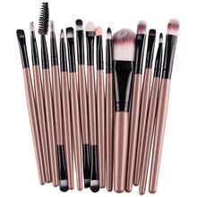 2016 Professional Makeup Brushes Set 15pcs High quality Foundation Eyebrow Lip Brush Make up Tools Kit Gold