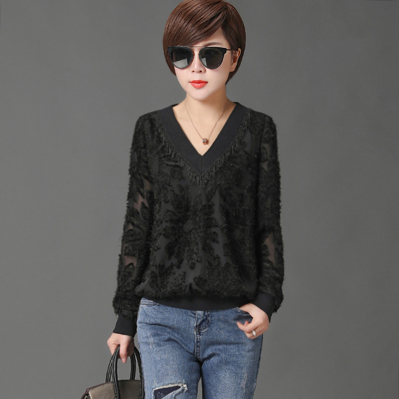 Women Spring Autumn Style Lace   Blouses     Shirts   Lady Casual Long Sleeve V-Neck Blusas Tops DF2280
