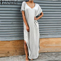 ZANZEA Vestidos 2017 Summer Women Split Maxi Dress Lady Sexy Casual V neck Short Sleeve T-shirt Long Beach Dresses Plus Size
