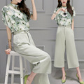 2 Two Piece Set Women Korea Hot Female Chiffon Blouse Tops Leg Pants 2016 Summer printing Casual Sets Clothes Womens Suits 88006
