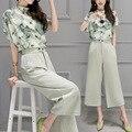 2 de Dos Piezas Mujeres de Corea Caliente Mujer Blusa de La Gasa Tops Pantalones de pierna 2016 Verano impresión Juegos Casual Ropa de Mujer Trajes 88006