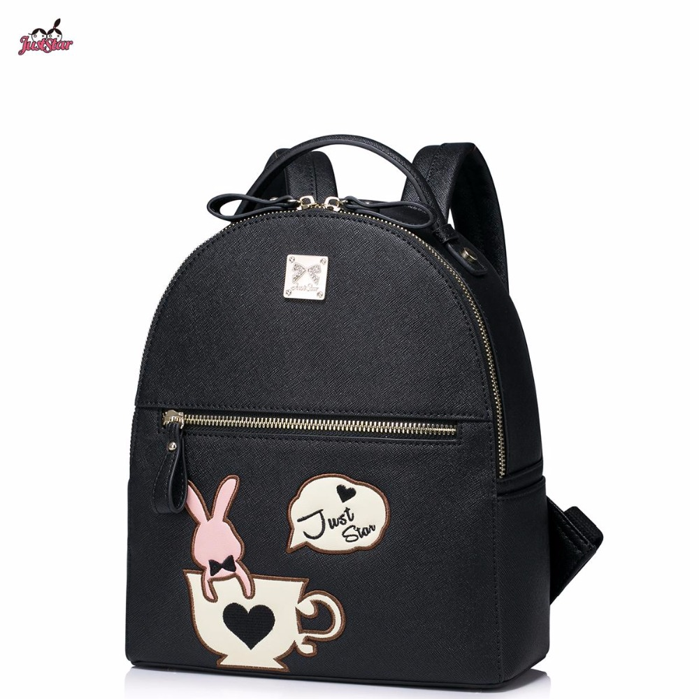 ФОТО Just Star Brand Design Cute Cup Bunny Embroidery Casual PU Women Leather Girls Ladies Backpack School Travel Shoulders Bags