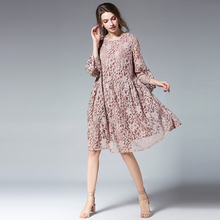 Plus size dresses women casual loose Elegant dress high waist crew neck flare sleeve lace mini dress oversize XL to 4XL pink недорого