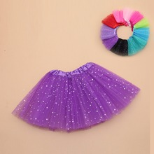 Girls skirt tulle fabric stars print mini tutu for 4-8 Y casual ball gown style children dance skirt kid party clothing недорого