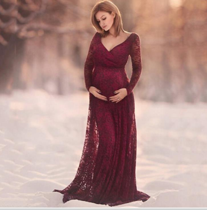 Women Dress Maternity Photography Props Lace Pregnancy Clothes Elegant Maternity Dresses For Pregnant Photo Shoot Cloth Plus white lace maternity photography props dresses elegant fancy pregnancy clothes for pregnant women photo shoot long dress
