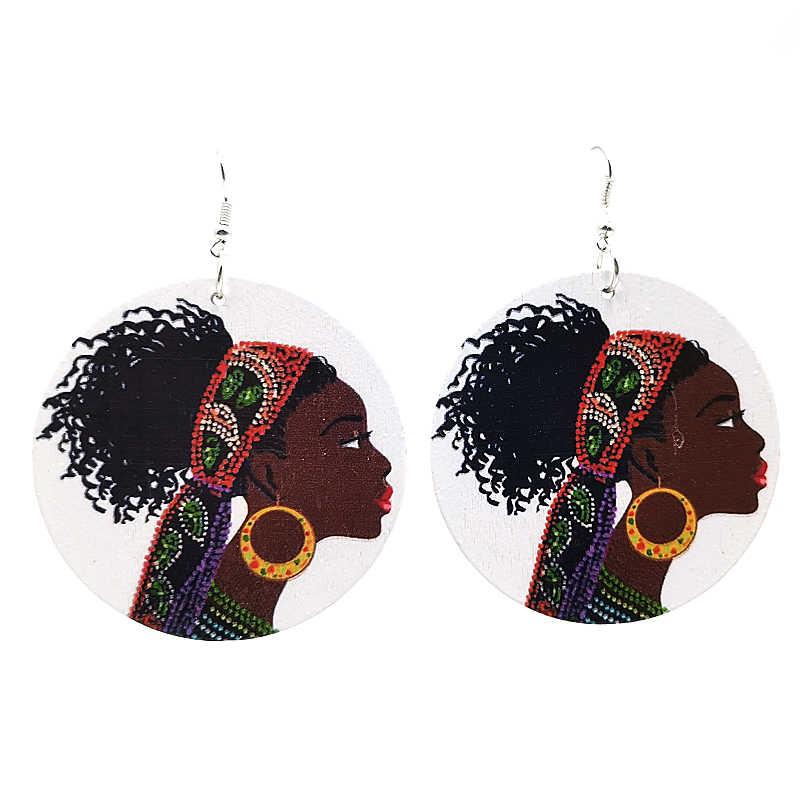 YD & YDBZ 2019 nowy styl etniczny duże okrągłe kolczyki spadek dla kobiet kolczyki z drewna drukowanie moda Punk biżuteria dziewczęca akcesoria