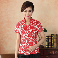 New Red Women Summer Short Sleeve Shirt Chinese Style Cotton Mandarin Collar Blouse Printed Flowers S