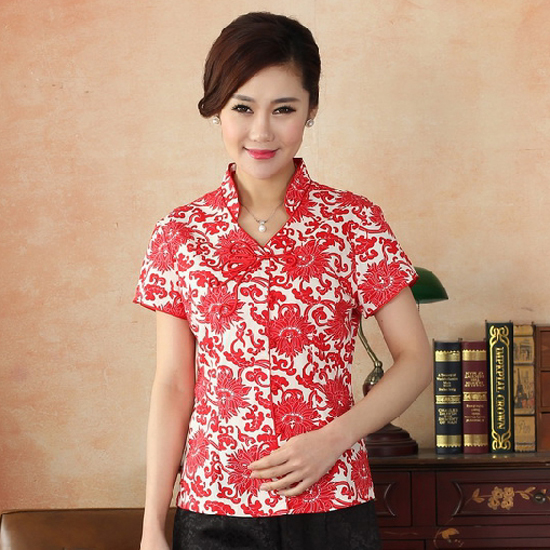 501468930ff21 New Red Women Summer Short Sleeve Shirt Chinese Style Cotton Mandarin  Collar Blouse Printed Flowers S M L XL XXL XXXL NMY05