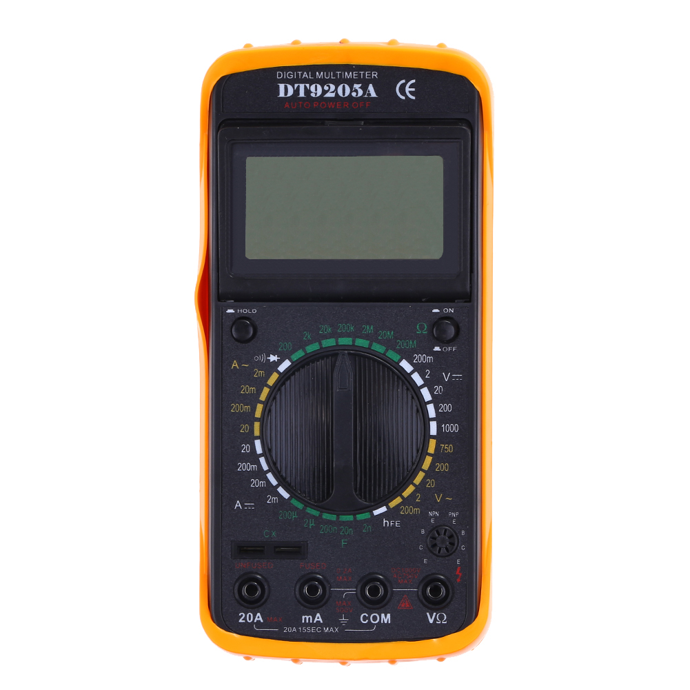 DT9205A Portable Handheld Digital Multimeter LED Backlight Large LCD Display Electrical Test Meter AC/DC