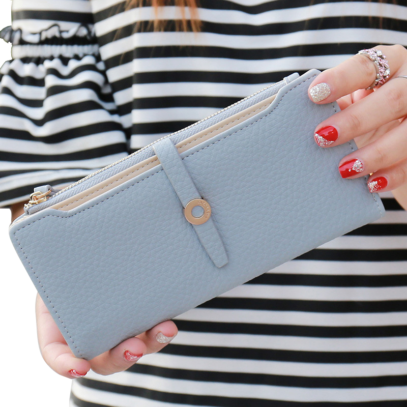 цены  2017 Hot Sale Lovely Leather Long Women Wallet Fashion Girls Change Clasp Purse Money Coin Card Holders Wallets Carteras