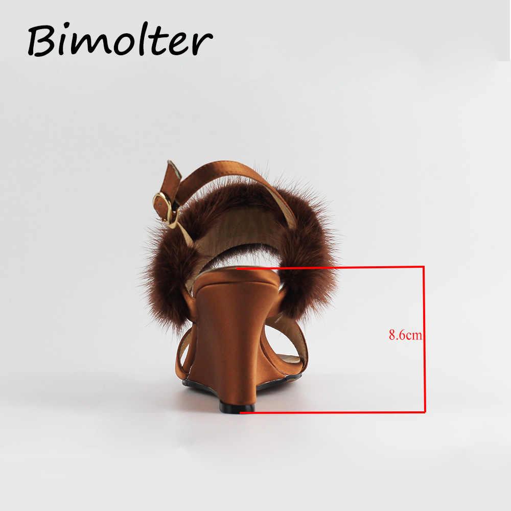 Bimolter Kadın Ipek Sandalet Yün Kürk Takozlar Ayak Bileği Kayışı Topuklu Kadın Retro Sandalet Ayakkabı Bayanlar Sarı Muhtasar Ayakkabı Yeni PSHA005