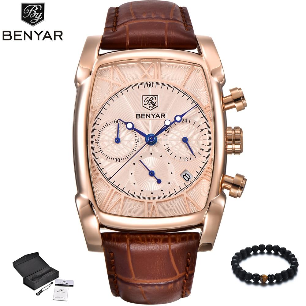 benyar mens watches luxury brand leather band quartz wrist. Black Bedroom Furniture Sets. Home Design Ideas