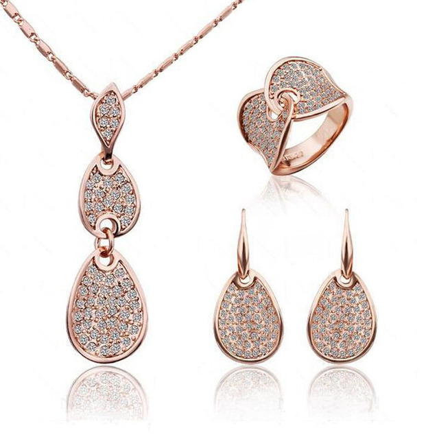 2014 Crystal Noble Elegance Jewelry Necklace Earring ring Set Made with Austrian