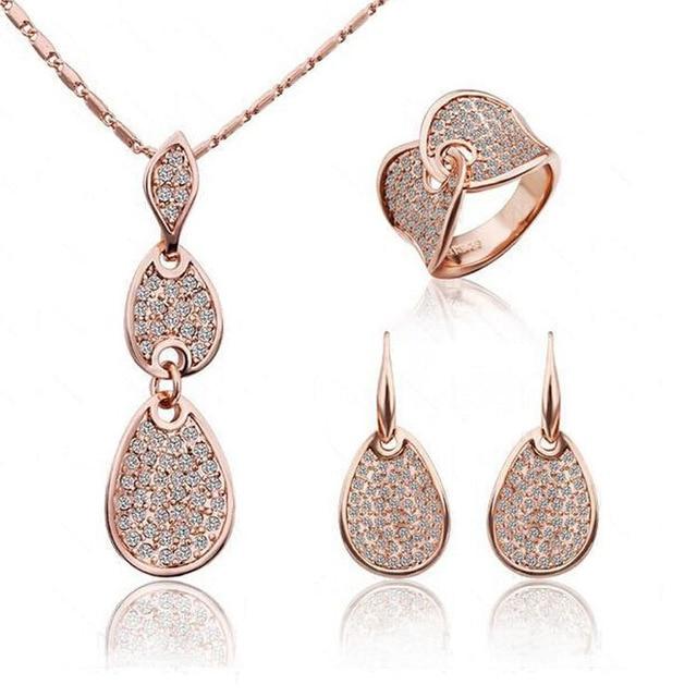 2014 Cristallo Nobile Eleganza Collana Dei Monili dell'anello Dell'orecchino Set