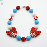 2PCS Kids Chunky Necklace Bow 2015 New Bubblegum Beads Collar Choker Princess Fashion Jewelry Children Chunky