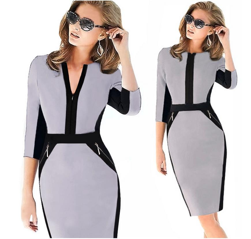 dee213be10 2018 Empire Knee Length Patchwork Women Dress Elegant Tunic Office Female Work  Dress Plus Size S 2XL Slim Bodycon Pencil Dresses-in Dresses from Women s  ...