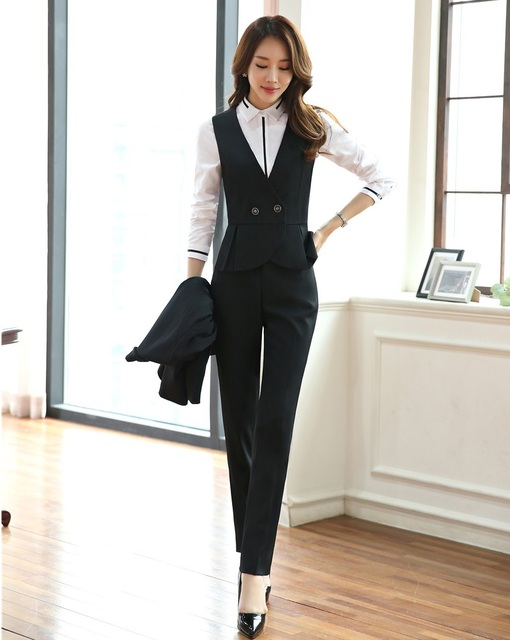 Formal Women Waistcoat & Vest Two Piece Pant and Top Sets Ladies ...