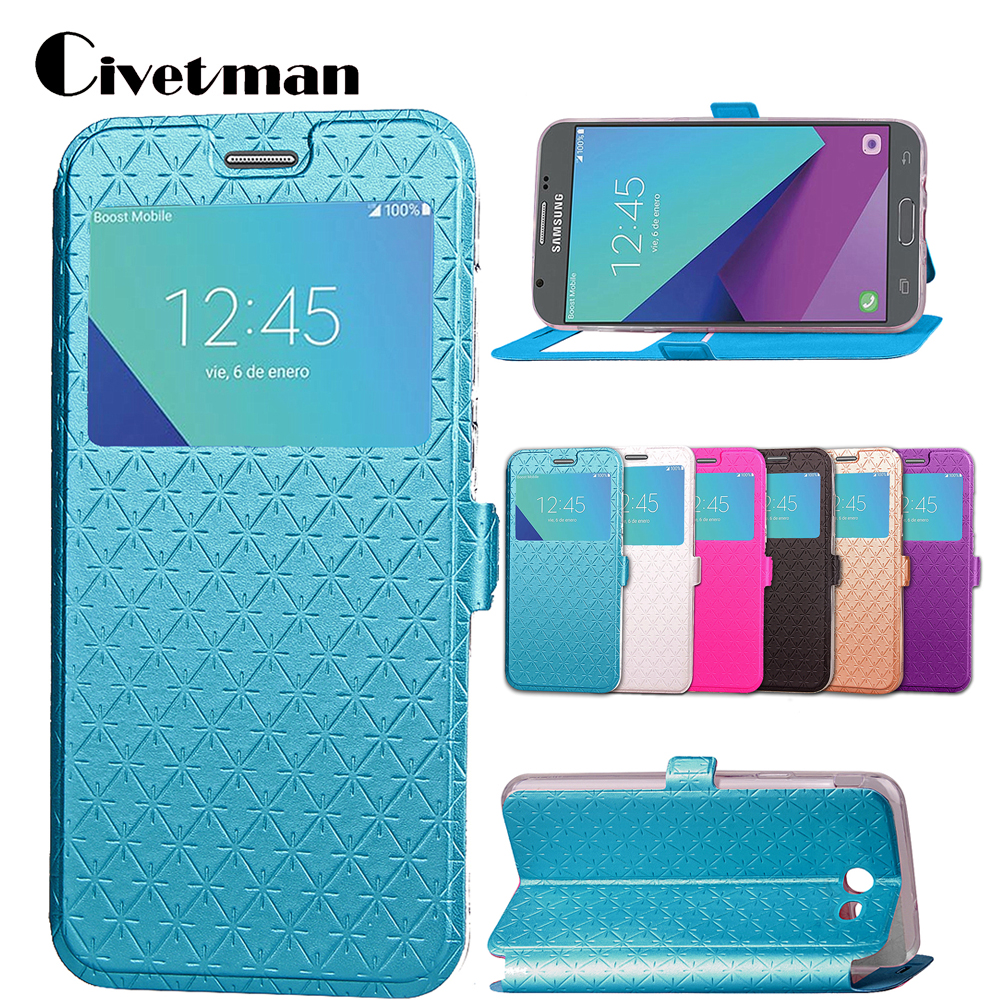 Cover Cell Phone <font><b>Case</b></font> For <font><b>Samsung</b></font> Galaxy <font><b>J5</b></font> 2017 J520 J520f US Flip PU <font><b>Leather</b></font> TPU Shell Window Design Stand Rhombus Holster Bag image