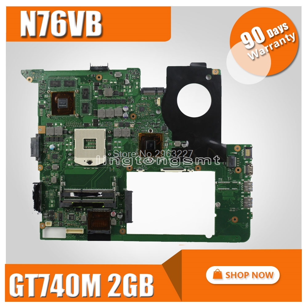 Original for ASUS N76VB REV:2.2 Laptop Motherboard 2G GT740M N14P-GE-OP-A2 HM76 Chipset mainboard fully tested цены
