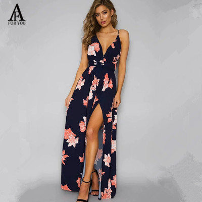 5adf217ea9ab 2017 women floral printed maxi dress summer Side split sundress sexy  backlesse casual women Strap beach dress vintage long dress