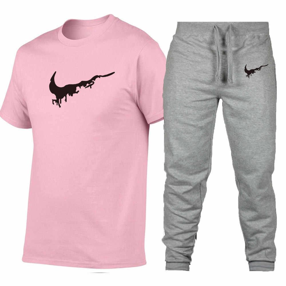 Оптовая продажа 2019 Новая Черная хип хоп Уличная удлиненная мужская футболка + брюки брендовая одежда летние хлопковые футболки мужские оверсайз дизайн