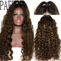 PAFF Ombre Kinky Curly 360 Lace Frontal Wigs #1b30 Two Tone 150 Density Brazilian Remy Hair Human Hair 4inch Wig With Baby Hair