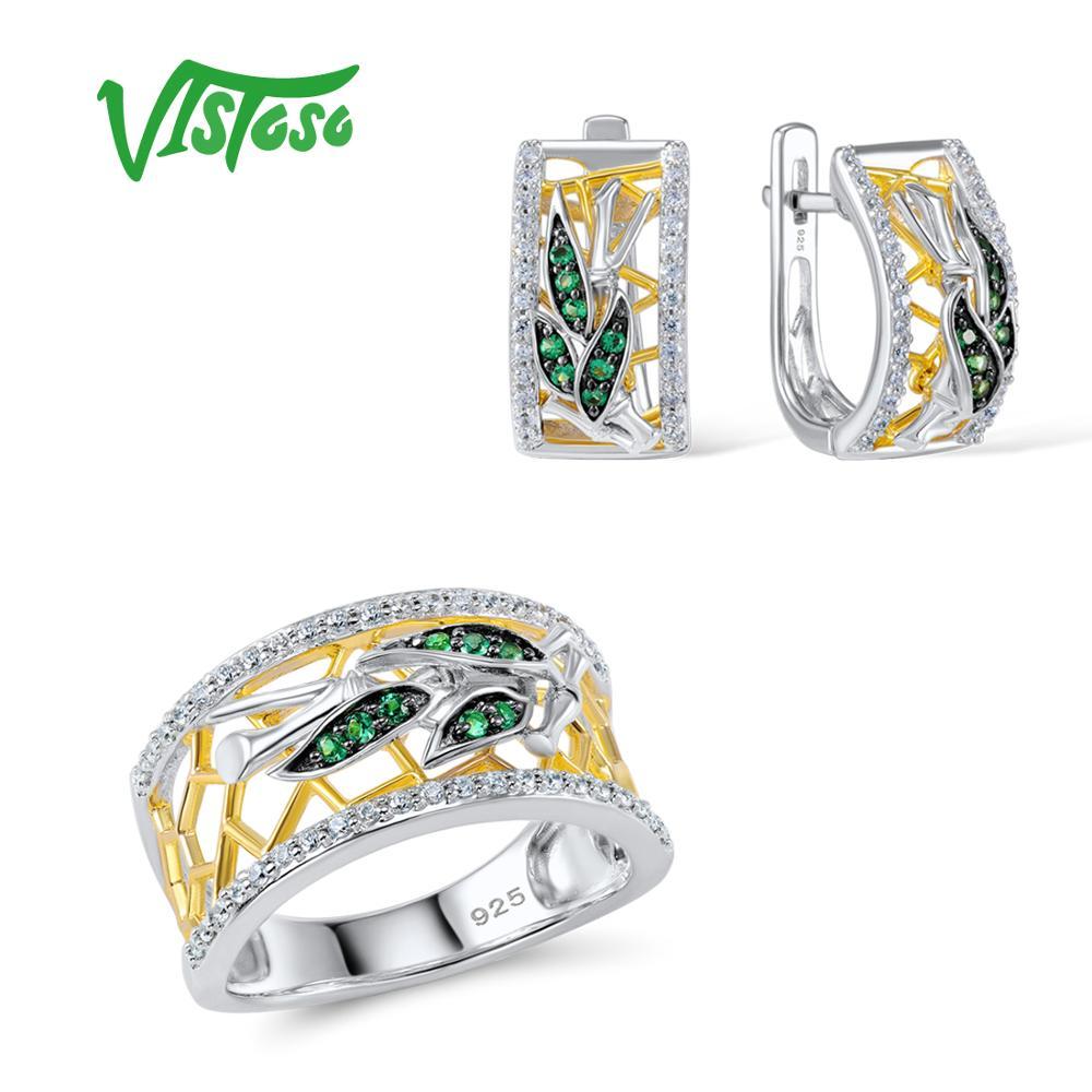VISTOSO Jewelry Sets For Woman Green Spinels White CZ Stones Jewelry Set Earrings Ring 925 Sterling Silver Fashion Fine Jewelry santuzza jewelry sets for women blue spinels white cz stones jewelry set ring stud earrings set 925 sterling silver jewelry set