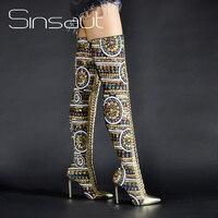 Sinsaut/Женская обувь; сезон зима лето; Тканевая обувь с блестками; Сапоги выше колена на высоком каблуке; сапоги с перекрестной шнуровкой; межд