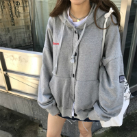 Women Autumn Winter Drawstring Hooded Letter Embroidery Hoodies Female Single Breasted Pocket Exo Sweatshirt Harajuku Svitshot