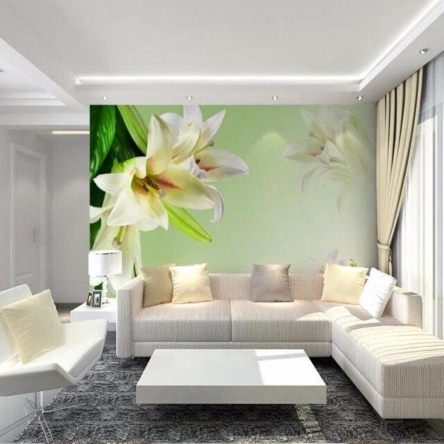 Beibehang 3d Zimmer Tapete Landschaft Wandbild Wohnzimmer Sofa TV  Hintergrund Tapete Schlafzimmer Wand Papier Grün Lilie